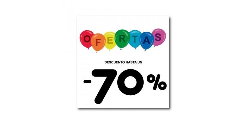 Cartel ofertas -70% globitos