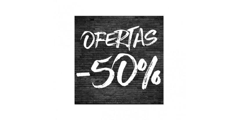 Cartel Ofertas 50% Ladrillo Negro