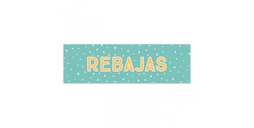 Cartel Rebajas Confetti turquesa