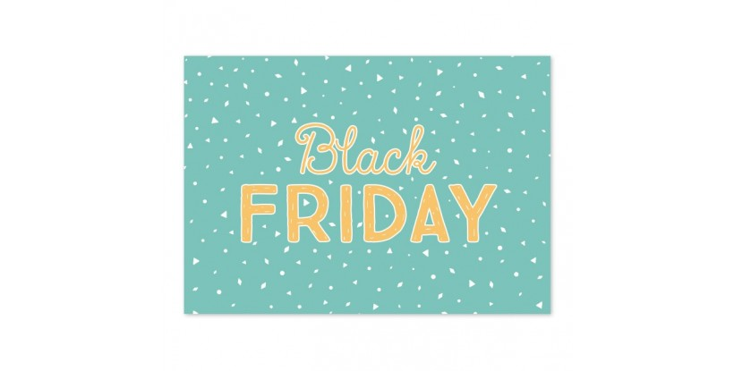 Cartel Black Friday Confetti turquesa