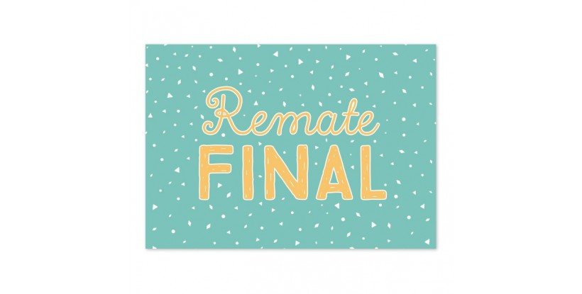 Cartel Remate Final Confetti turquesa