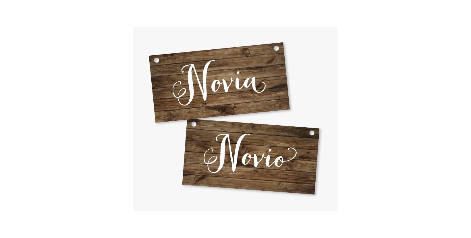 Carteles Boda Novia y Novio de 40x20 cm. al mejor precio!