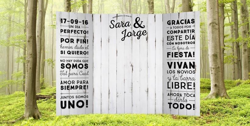 Photocall boda vintage r gido efecto madera al mejor precio for Photocall boda vintage