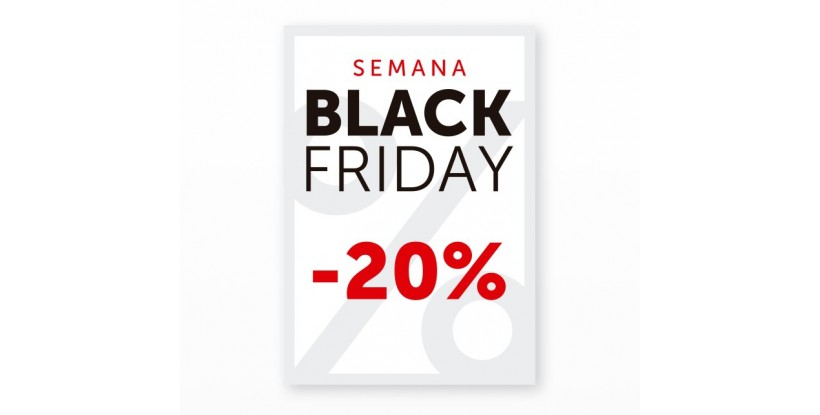 Cartel Black Friday 20% Blanco