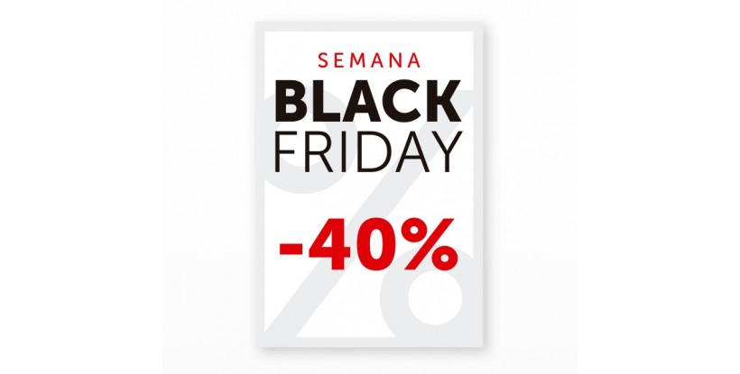 Cartel Black Friday 40% Blanco