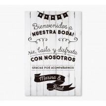 Cartel Bienvenida Boda Blanco