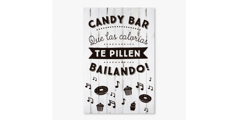 Cartel Boda Candy Bar Blanco