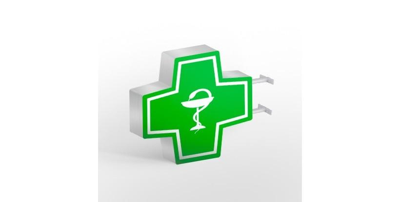 cruz de farmacia con símbolo del colegio de farmacéuticos