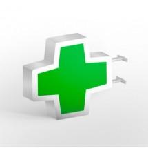 cruz de farmacia básico con perfil verde