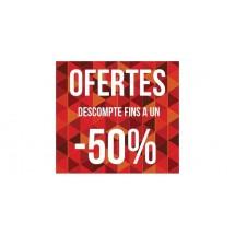 Cartel ofertas -50% triángulos