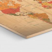 Mapamundi impreso en madera