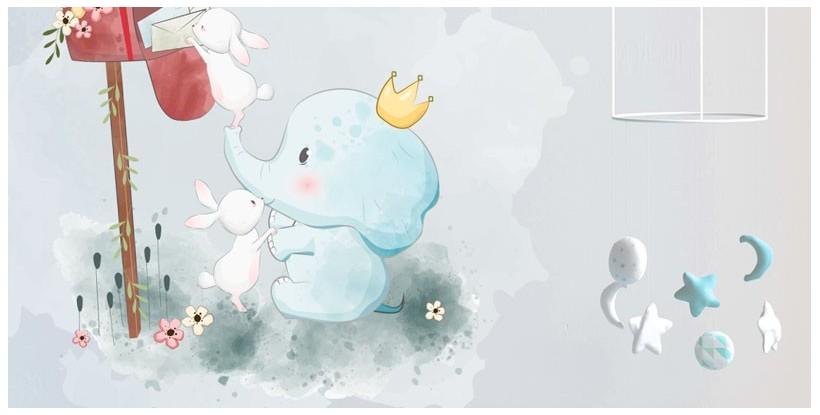 Vinilo Bebe elefante con conejitos