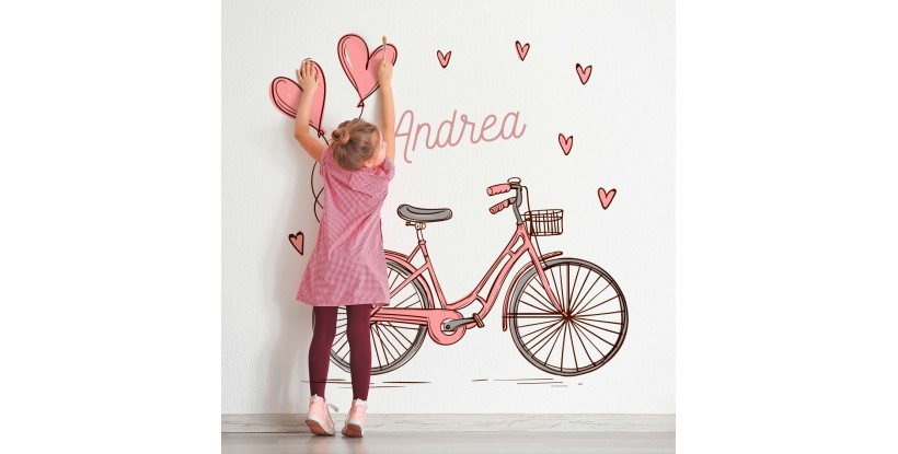 Vinilo Infantil Bicicleta Rosa