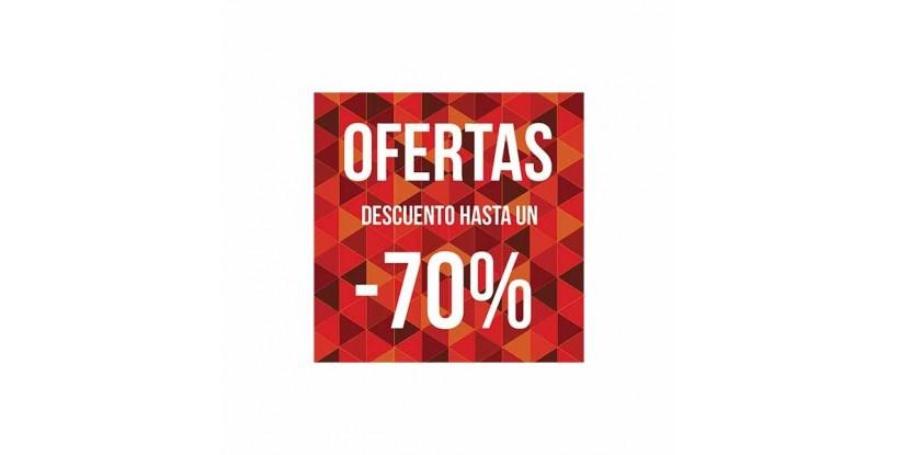 Cartel ofertas -70% triángulos