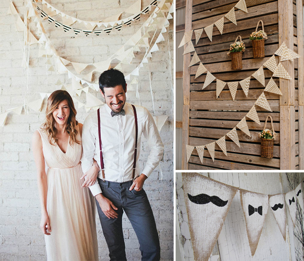 Ideas originales para bodas. Banderines de tela para bodas