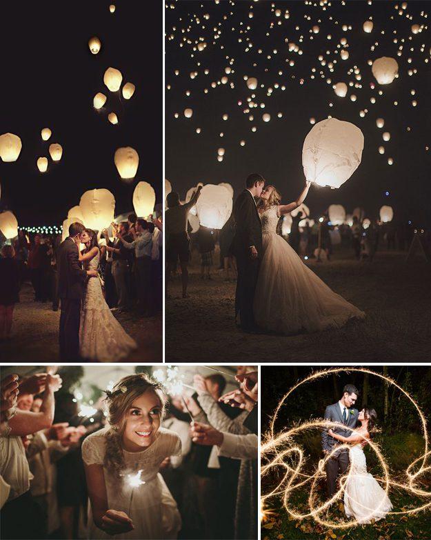 Ideas originales para bodas. Bengalas y farolillos para bodas
