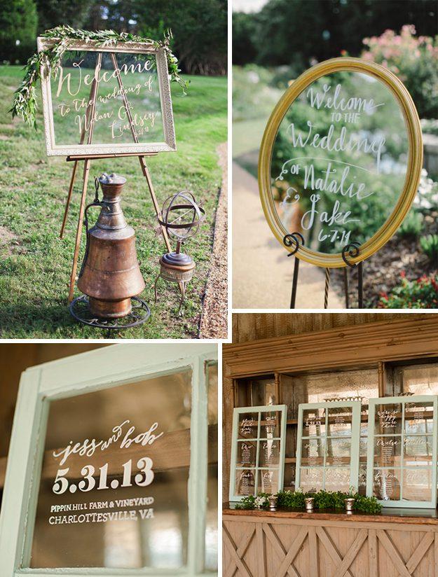 ideas originales para bodas carteles de boda en cristales