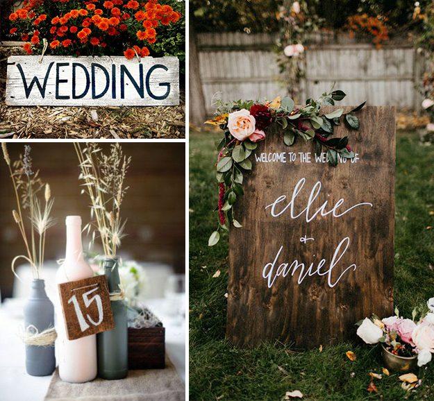 Carteles de boda en madera