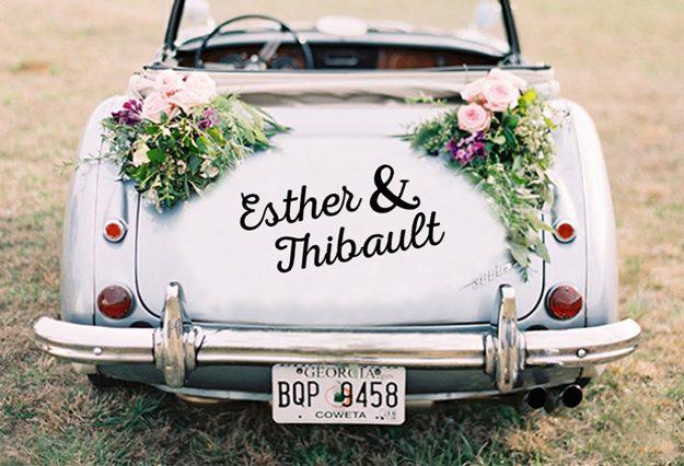 Ideas originales para bodas. Vinilo para vehículos