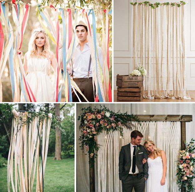 Ideas originales para bodas. Fondos con tiras de tela para bodas