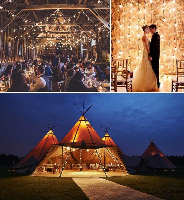Guirnalda de luces para boda. Ideas originales para bodas.