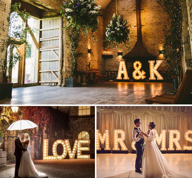 Letras gigantes con luz de corcho. Ideas originales para bodas.
