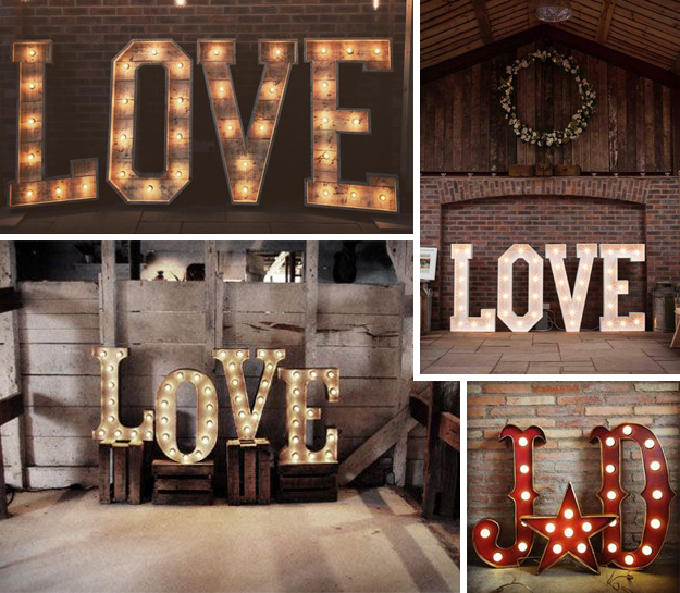 Ideas originales para bodas. Letras gigantes de madera con luz