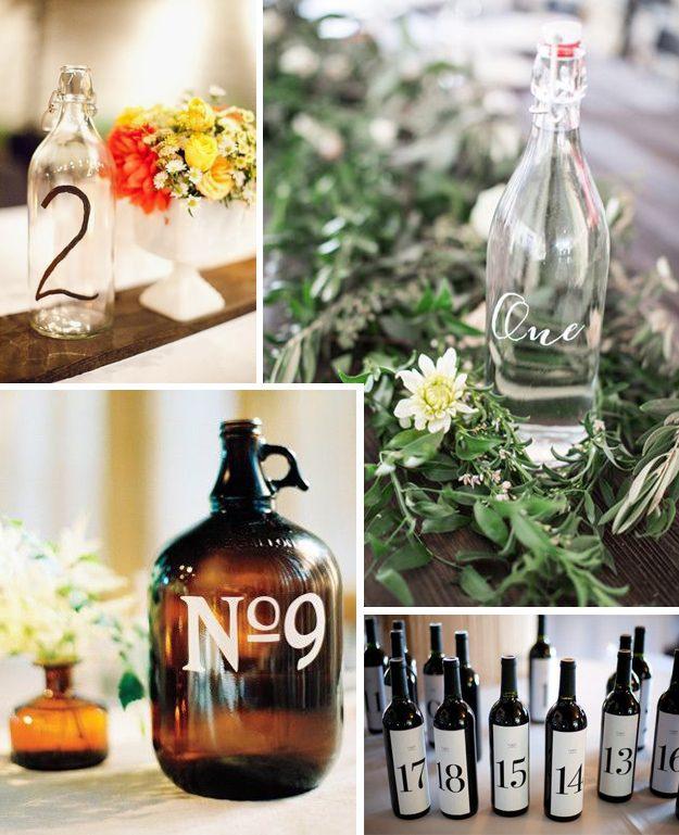ideas originales para bodas meseros con botellas de cristal