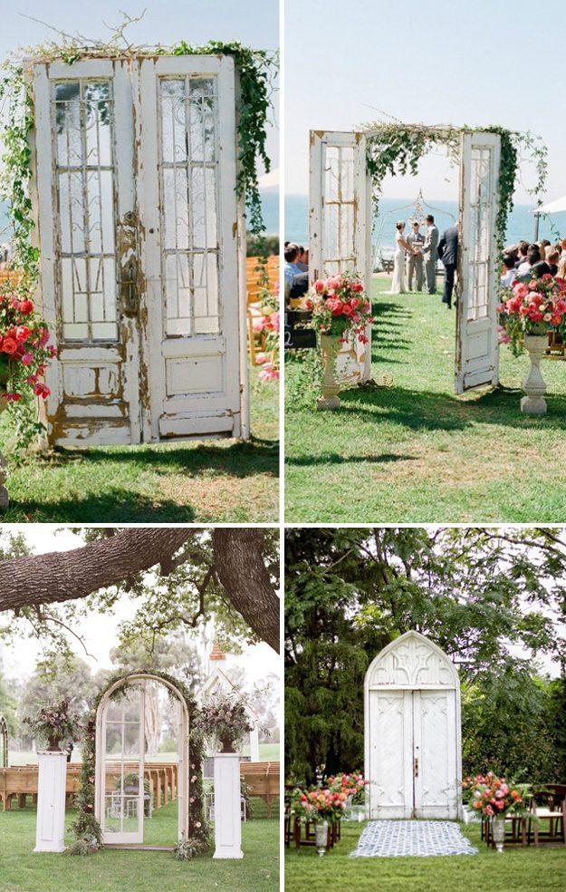 Ideas originales para bodas 21 ideas que no pueden faltar for Puertas grandes antiguas