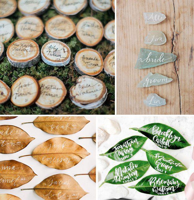Ideas originales para bodas. Caligrafía nombres invitados de boda