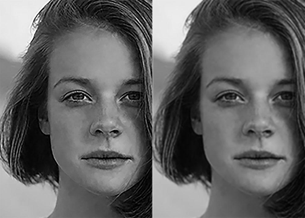 Imagen de baja resolución mejorada con filtro gaussiano