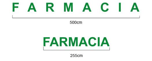 Medidas y colocación de las letras corpóreas de farmacia