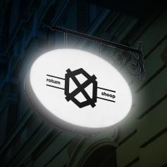 Banderola ovalada con luz
