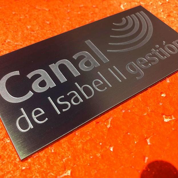 Placa de aluminio grabado para la señalización del canal de Isabel II gestión.